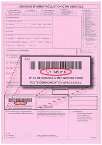 de la plaque d'immatriculation que vous attendez (exemple : plaque ...