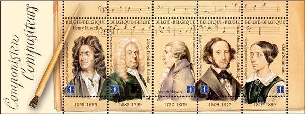 Blog Cultureduca educativa blad_componisten COMPOSITORES CLÁSICOS EN SELLOS BELGAS
